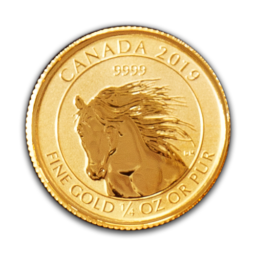 1/4 oz Canadian Wild Horse Gold Coin Reverse Image